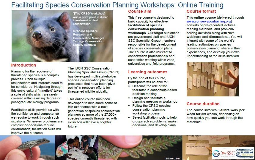 CPSG Facilitating Species Conservation Planning online